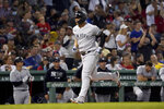 New York Yankees' Gleyber Torres rounds the bases after hitting a solo home run during the seventh inning of a baseball game against the Boston Red Sox at Fenway Park, Friday, Sept. 24, 2021, in Boston. (AP Photo/Mary Schwalm)