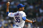 Chicago Cubs starter Cole Hamels delivers a pitch during the first inning of a baseball game against the Milwaukee Brewers Saturday, Aug 31, 2019, in Chicago. (AP Photo/Paul Beaty)