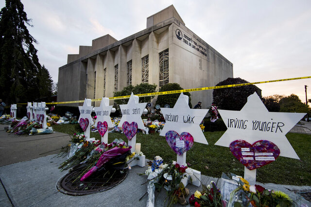 File - In this Monday, Oct. 29, 2018 file photo, a makeshift memorial stands outside the Tree of Life Synagogue in the aftermath of a deadly shooting in Pittsburgh. Lawyers for Robert Bowers, the suspect in the synagogue shooting that killed 11 people in Pittsburgh, have challenged his potential death sentence as unconstitutional and argued in court papers filed this week that capital punishment violates the Fifth Amendment's due process clause and the Eighth Amendment's ban on cruel and unusual punishment. They also said the practice of carrying out federal executions in state prisons violates a Tenth Amendment protection that says states can't be made to enforce federal laws, the Pittsburgh Tribune-Review reported Friday, Dec. 27, 2019. (AP Photo/Matt Rourke, File)