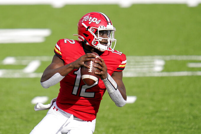 Maryland quarterback Lance LeGendre looks to pass against Maryland during the first half of an NCAA college football game, Saturday, Dec. 12, 2020, in College Park, Md. (AP Photo/Julio Cortez)