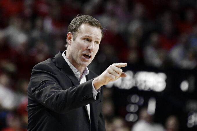 Nebraska coach Fred Hoiberg protests a foul call against Akol Arop during the first half of an NCAA college basketball game against Northwestern in Lincoln, Neb., Sunday, March 1, 2020. (AP Photo/Nati Harnik)