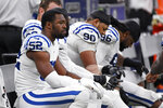 Indianapolis Colts defensive end Ben Banogu (52) stings on the bench in the second half of an NFL football game against the New Orleans Saints in New Orleans, Monday, Dec. 16, 2019. The Saints won 34-7. (AP Photo/Bill Feig)