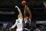Boise State center Robin Jorch (25) and Georgia Tech forward James Banks III (1) fight for a rebound during the first half of an NCAA college basketball game Sunday, Dec. 22, 2019, in Honolulu. (AP Photo/Marco Garcia)