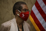 Delegate Eleanor Holmes Norton, D-D.C., wears a 51st state facemask during a news conference on Capitol Hill in Washington, Thursday, June 25, 2020, about D.C. statehood. (AP Photo/Carolyn Kaster)