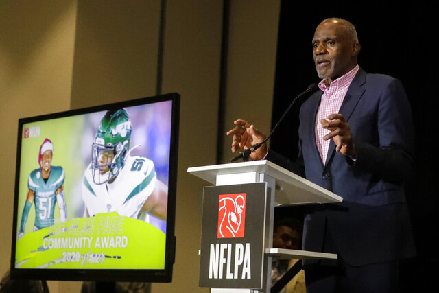 Minnesota Supreme Court Justice Alan Page and former NFL player speaks during the NFL Players Association annual state of the union press conference on Thursday, Jan. 30, 2020, in Miami Beach, Fla., The San Francisco 49ers will face the Kansas City Chiefs in the NFL Super Bowl 54 football game Sunday. (AP Photo/Chris Carlson)