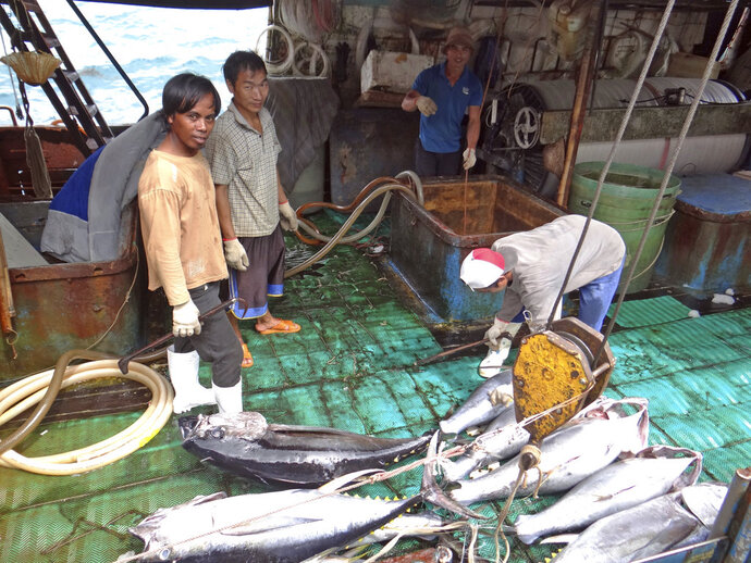 Fishermen at the Majuro port in the Marshall Islands unload yellowfin tuna on Feb. 1, 2018, for Luen Thai Fishing Venture, one of the companies that was supplying fish that entered the supply chain of Sea To Table. Men work around the clock, getting little pay. (AP Photo/Hilary Hosia)