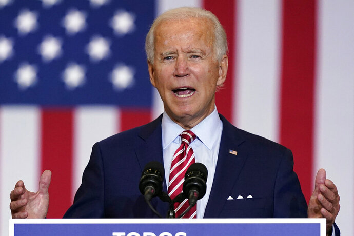 Democratic presidential candidate former Vice President Joe Biden speaks during a Hispanic Heritage Month event, Tuesday, Sept. 15, 2020, at Osceola Heritage Park in Kissimmee, Fla. Democrat Joe Biden has left little doubt that if elected he would try to scale back President Donald Trump's buildup in nuclear weapons spending. And although he has not fully detailed his nuclear policy priorities, Biden says he would push for less reliance on the world's deadliest weapons. (AP Photo/Patrick Semansky)
