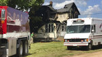 This image made from video provided by WSAW-TV shows a damaged house after a fire in Pickerel, Wis., Tuesday, June 25, 2019. Authorities in Wisconsin say several people have died in the house fire in the northeastern part of the state. (WSAW-TV via AP)