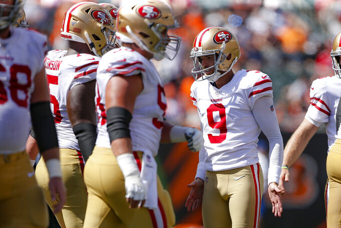 San Francisco 49ers kicker Robbie Gould (9) celebrates his field goal during the first half an NFL football game against the Cincinnati Bengals, Sunday, Sept. 15, 2019, in Cincinnati. (AP Photo/Gary Landers)
