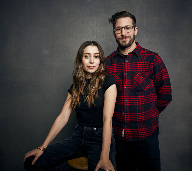 FILE - Cristin Milioti, left, and Andy Samberg pose for a portrait to promote their film