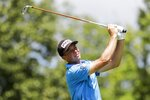 Viktor Hovland, of Norway, hits on the third tee during the third round of the Workday Charity Open golf tournament, Saturday, July 11, 2020, in Dublin, Ohio. (AP Photo/Darron Cummings)