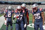 New England Patriots' J.C. Jackson (27) celebrates his interception during the first half of an NFL football game against the New York Jets, Sunday, Sept. 19, 2021, in East Rutherford, N.J. (AP Photo/Bill Kostroun)