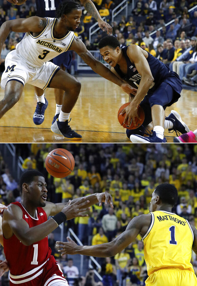 FILE - Top, in a Jan. 3, 2019, file photo, Michigan guard Zavier Simpson (3), left, defends against Penn State guard Rasir Bolton during the first half of an NCAA college basketball game in Ann Arbor, Mich. At right, in a Jan. 6, 2019, file photo,  Michigan guard Charles Matthews, right, knocks the ball away from Indiana guard Aljami Durham in the first half of an NCAA college basketball game in Ann Arbor, Mich. Michigan State and Michigan reached the Sweet 16 on the strength of their defense, so the two rivals have that in common, at least. But the Spartans and Wolverines have slightly different ways of shutting down opponents. (AP Photo/Paul Sancya, File)