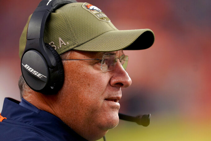 Denver Broncos head coach Vic Fangio watches during the second half of NFL football game against the Cleveland Browns, Sunday, Nov. 3, 2019, in Denver. (AP Photo/Jack Dempsey)