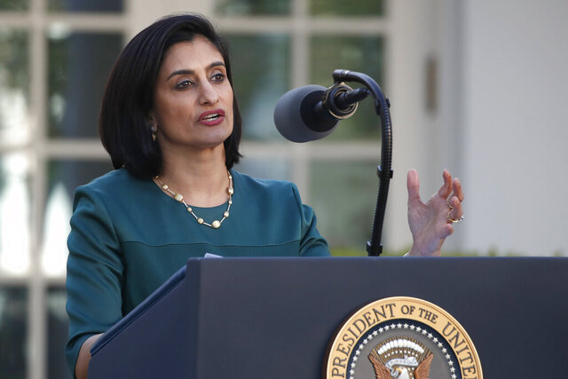 FILE - In this March 30, 2020, file photo, Administrator of the Centers for Medicare and Medicaid Services Seema Verma speaks about the coronavirus in the Rose Garden of the White House in Washington. The government says Blacks are nearly four times more likely than whites to be hospitalized with COVID-19 among people with Medicare. The analysis from the federal Centers for Medicare and Medicaid Services also found that Hispanics were about twice as likely as whites to be hospitalized. (AP Photo/Alex Brandon, File)