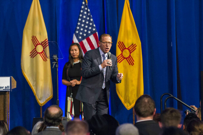 FILE - In this Nov. 6, 2018, file photo, then-New Mexico State Auditor-elect Brian Colon delivers his acceptance speech in Albuquerque, N.M. Colon announced his candidacy Thursday, May 13, 2021, for the office of state attorney general. The Democrat wants to follow in the footsteps of former law firm colleague and friend Hector Balderas, who is wrapping up his second term as New Mexico's top prosecutor and consumer advocate. (AP Photo/Juan Labreche, File)