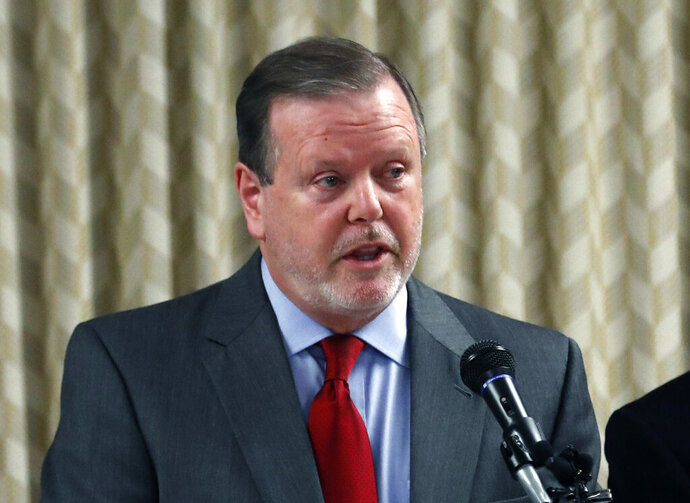 FILE - In this March 30, 2017, file photo, North Carolina Senate President pro tem Phil Berger announces a bill to replace the controversial HB2 or