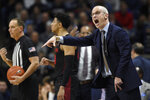 Connecticut head coach Dan Hurley reacts in the second half of an NCAA college basketball game against Houston, Thursday, March 5, 2020, in Storrs, Conn. (AP Photo/Jessica Hill)