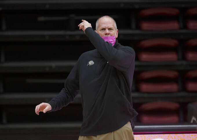Colorado coach Tad Boyle reacts to an official's call during the second half of the team's NCAA college basketball game against Stanford, Thursday, Feb. 11, 2021, in Stanford, Calif. Colorado defeated Stanford 69-51. (AP Photo/D. Ross Cameron)