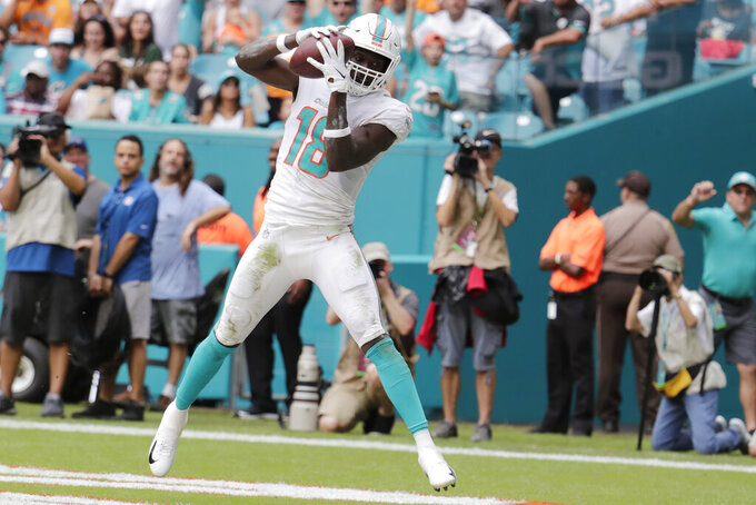 Miami Dolphins wide receiver Preston Williams (18) scores a touchdown during the first half of an NFL football game against the New York Jets, Sunday, Nov. 3, 2019, in Miami Gardens, Fla. (AP Photo/Lynne Sladky)
