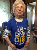 St. Louis Blues fan Marge Kirchhoefer poses for a portrait in her St. Louis home, Thursday, June 13, 2019. At age 100, Kirchhoefer is among the oldest St. Louis Blues fans, and now that they're Stanley Cup champions, she knows exactly how she'll celebrate. She plans to drink champagne and says she
