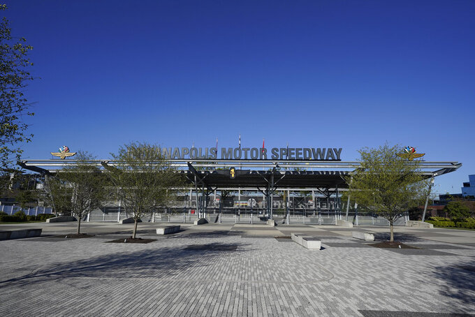 The entrance to the Indianapolis Motor Speedway is empty of fans, Thursday, Aug. 20, 2020, in Indianapolis. (AP Photo/Darron Cummings)