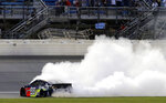 Alex Bowman burns out after winning the NASCAR Cup Series auto race at Chicagoland Speedway in Joliet, Ill., Sunday, June 30, 2019. (AP Photo/Nam Y. Huh)
