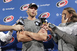 Carolina Hurricanes' Jordan Staal answers questions during the the team's NHL hockey media day in Raleigh, N.C., Wednesday, Sept. 4, 2019. (AP Photo/Gerry Broome)