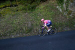 Neilson Powless of the US speeds down the Anglards de Salers pass during the stage 13 of the Tour de France cycling race over 191 kilometers from Chatel-Guyon to Puy Mary, Friday, Sept. 11, 2020. (AP Photo/Christophe Ena)