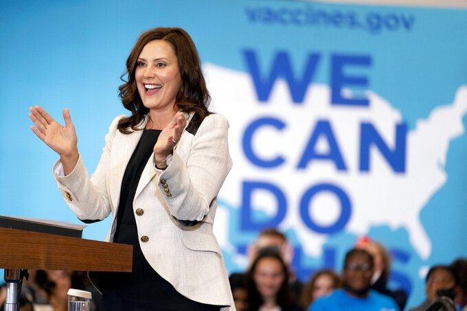 FILE - In this July 12, 2021, file photo, Michigan Gov. Gretchen Whitmer speaks at a vaccine mobilization event before Vice President Kamala Harris takes the stage at the TCF Center in Detroit. Gov. Whitmer's reelection campaign said Tuesday, July 20, 2021, it raised $8.5 million to date this year, the most for any gubernatorial candidate in a non-election year in Michigan history. (AP Photo/Andrew Harnik, File)