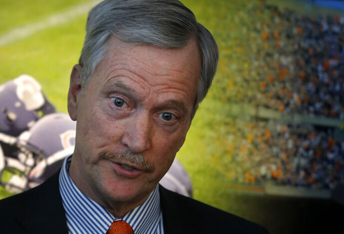 FILE - In this Jan. 4, 2017, file photo, Chicago Bears chairman George H. McCaskey talks to reporters after an end of season NFL football news conference with coach John Fox and general manager Ryan Pace in Lake Forest, Ill. McCaskey at first thought Hall of Famer Brian Urlacher's Instagram account was hacked last month. The eye-opening posts just didn't mesh with the man he knows. And until they talk, McCaskey is reserving judgment. (AP Photo/Charles Rex Arbogast, File)