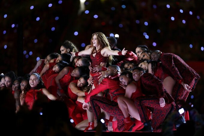 Shakira performs during halftime of the NFL Super Bowl 54 football game between the Kansas City Chiefs and the San Francisco 49ers Sunday, Feb. 2, 2020, in Miami Gardens, Fla. (AP Photo/Lynne Sladky)