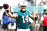 Miami Dolphins quarterback Ryan Fitzpatrick (14) looks to pass, during the first half at an NFL football game against the Philadelphia Eagles, Sunday, Dec. 1, 2019, in Miami Gardens, Fla. (AP Photo/Brynn Anderson)