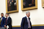 Federal Reserve Chairman Jerome Powell arrives to testify before the House Financial Services Committee on Capitol Hill in Washington, Wednesday, July 10, 2019. (AP Photo/Susan Walsh)