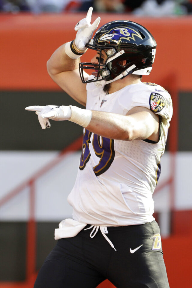 Baltimore Ravens tight end Mark Andrews (89) celebrates after a 39-yard touchdown during the first half of an NFL football game against the Cleveland Browns, Sunday, Dec. 22, 2019, in Cleveland. (AP Photo/Ron Schwane)