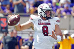 South Carolina quarterback Zeb Noland throws a pass against East Carolina during the first half of an NCAA college football game in Greenville, N.C., Saturday, Sept. 11, 2021. (AP Photo/Karl B DeBlaker)