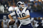 Los Angeles Rams quarterback Jared Goff (16) throws in the first quarter of an NFL football game against the Dallas Cowboys in Arlington, Texas, Sunday, Dec. 15, 2019. (AP Photo/Ron Jenkins)
