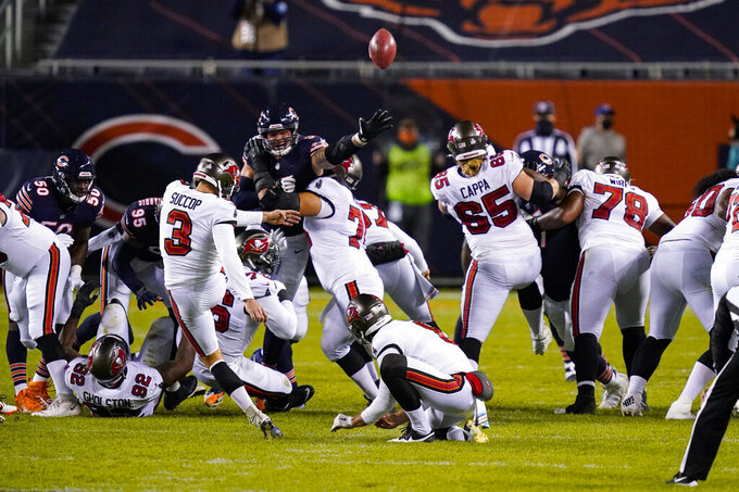 Tampa Bay Buccaneers' Ryan Succop (3) kicks a 46-yard field goal against the Chicago Bears during the second half of an NFL football game in Chicago, Thursday, Oct. 8, 2020. (AP Photo/Charles Rex Arbogast)