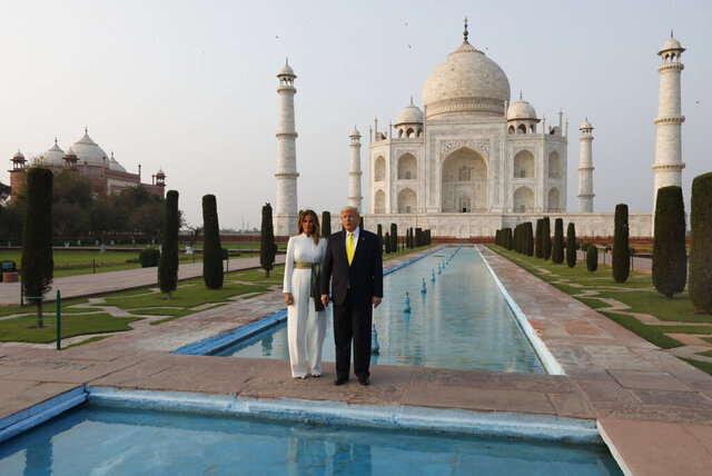 U.S. President Donald Trump, and first lady Melania Trump visit the Taj Mahal,the 17th century monument to love in Agra, India, Monday, Jan. 24, 2020. (AP Photo/Rajesh Kumar Singh)