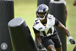 Baltimore Ravens wide receiver Sammy Watkins runs drills during NFL football organized team activities Wednesday, June 2, 2021, in Owings Mills, Md.(AP Photo/Gail Burton)