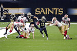 New Orleans Saints Deonte Harris (11) carries on a 75 yard kickoff return in the first half of an NFL football game in New Orleans, Sunday, Nov. 15, 2020. (AP Photo/Butch Dill)