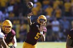 Arizona State quarterback Jayden Daniels (5)  passes against Washington State during the second half of an NCAA college football game Saturday, Oct. 12, 2019, in Tempe, Ariz. (AP Photo/Ross D. Franklin)