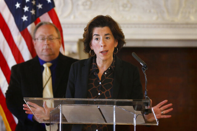 Rhode Island Governor Gina Raimondo gives and update on the coronavirus during a press conference in the State Room of the Rhode Island State House Sunday, March 22, 2020, in Providence, R.I. (Kris Craig/Providence Journal via AP, Pool)