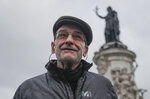 """Josu Urrutikoetxea, a former leader of Basque separatist militant group ETA, speaks in Paris, Thursday, Oct. 15, 2020. Josu Urrutikoetxea, the last known chief of ETA, the now-extinct Basque separatist militant group, goes on trial Monday Oct. 19, 2020 in Paris for terrorism charges that he deems """"absurd"""" because of his role in ending a conflict that claimed hundreds of lives and terrorized Spain for half a century. (AP Photo/Michel Euler)"""