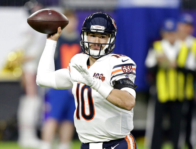 FILE - In this Dec. 29, 2019, file photo, Chicago Bears quarterback Mitchell Trubisky (10) throws a pass during the first half of an NFL football game against the Minnesota Vikings in Minneapolis. Trubisky insists he is one motivated quarterback. He comes into a make-or-break season locked in a competition with former Super Bowl MVP Nick Foles for the Bears' quarterback job, knowing his future as a starter in Chicago and maybe anywhere else is on the line. (AP Photo/Andy Clayton-King, File)