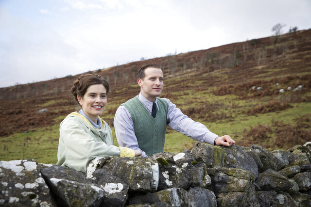 This image released by PBS shows Rachel Shenton and Nicholas Ralph, right, in a scene from