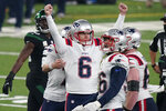 New England Patriots kicker Nick Folk (6) reacts after kicking the winning field goal during the second half of an NFL football game against the New York Jets, Monday, Nov. 9, 2020, in East Rutherford, N.J. (AP Photo/Corey Sipkin)