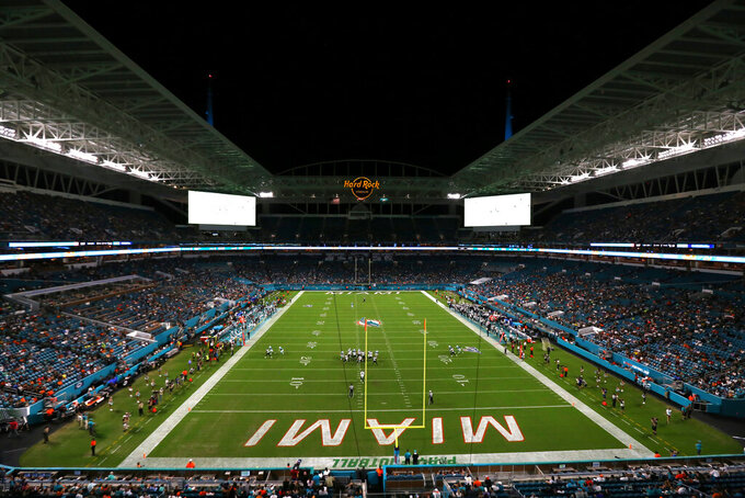 A general overview of Hard Rock Stadium during an NFL preseason game between the Jacksonville Jaguars and the Miami Dolphins, Thursday, Aug. 22, 2019, in Miami Gardens, Fla. (Margaret Bowles via AP)