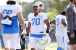 Los Angeles Chargers offensive tackle Rashawn Slater looks over during NFL football practice in Costa Mesa, Calif., Thursday, Aug. 12, 2021. (AP Photo/Alex Gallardo)