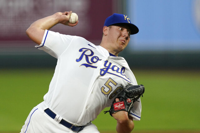Kansas City Royals starting pitcher Brad Keller throws during the first inning of the team's baseball game against the Detroit Tigers on Friday, Sept. 25, 2020, in Kansas City, Mo. (AP Photo/Charlie Riedel)